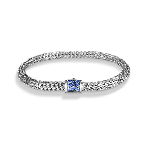 Classic Chain Extra Small Bracelet with Blue Sapphire Clasp