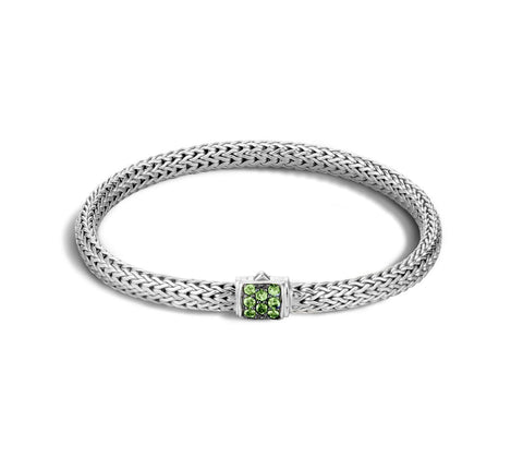 Classic Chain Extra Small Bracelet with Tsavorite Clasp