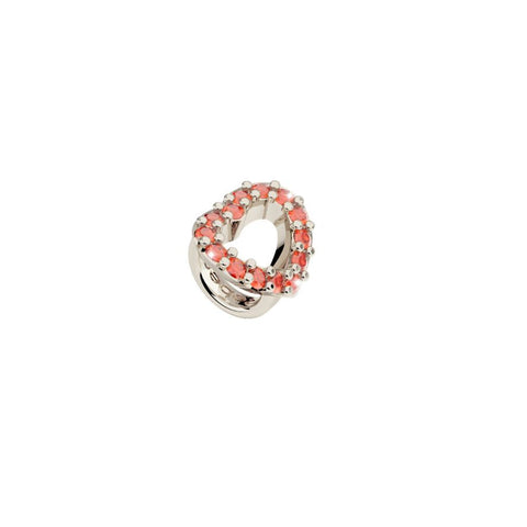White Open Heart Ring Charm with Red Crystals