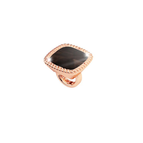 Rose Square Ring Charm with Brown Crystal