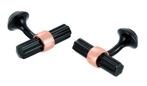 Black Steel & Rose Bar Cufflinks