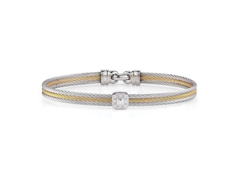 Classique Triple Row Bracelet with Square Diamond Station