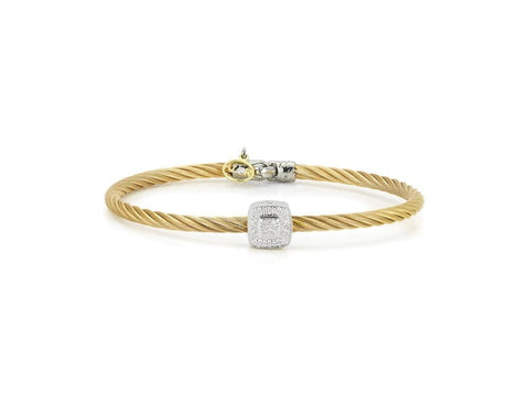 Classique Yellow Bangle with Square Diamond Station