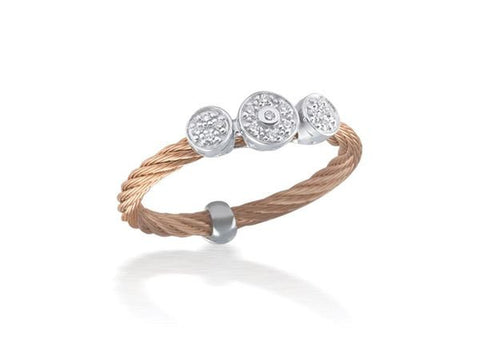 Classique Triple Round Diamond Station Ring - Rose