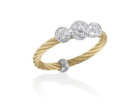 Classique Triple Round Diamond Station Ring - Yellow