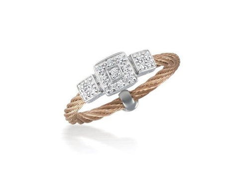 Classique Triple Square Station Ring - Rose