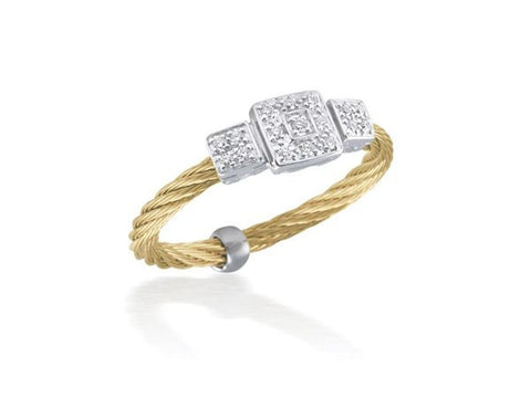 Classique Triple Square Station Ring - Yellow