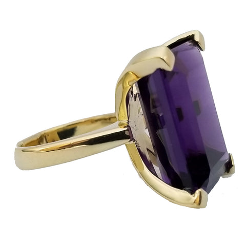 Rectangular-Cut Amethyst Ring