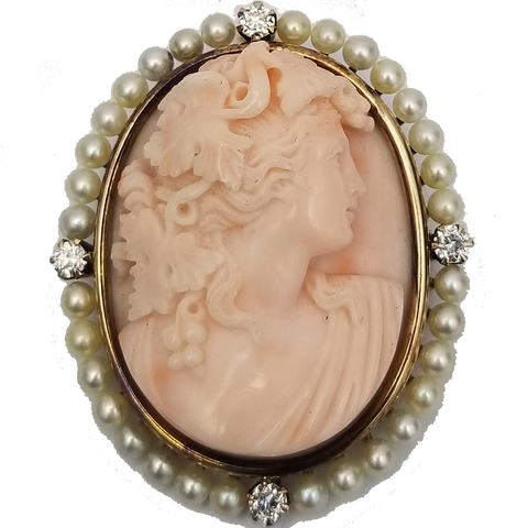 Antique Coral Cameo Pindant