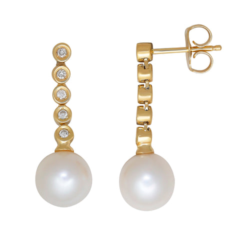 Diamond Drop & Pearl Earrings