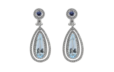 Blue Topaz & Sapphire Drop Earrings