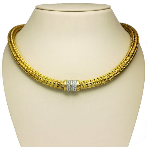 Brushed Gold and Diamond Necklace
