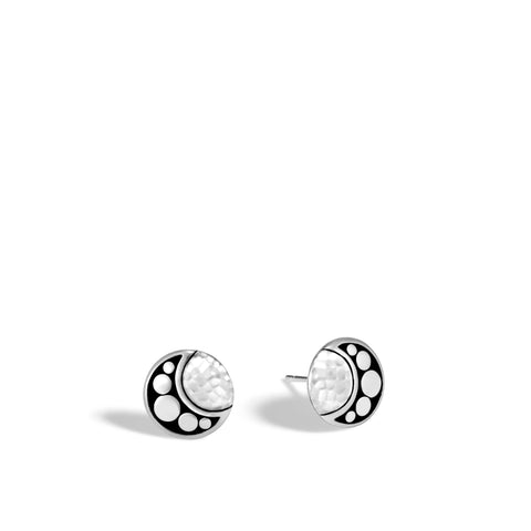 Moon Phase Hammered Stud Earring