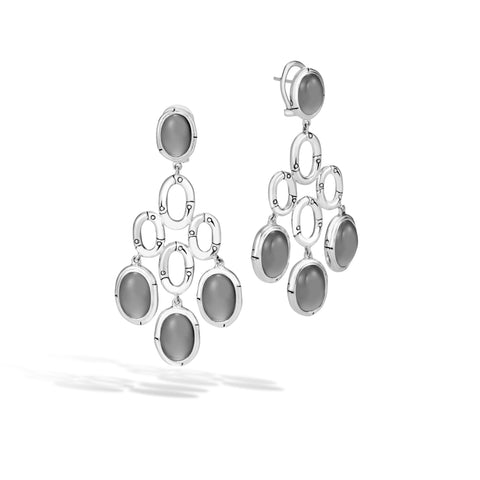 Bamboo Chandelier Earring with Grey Moonstone