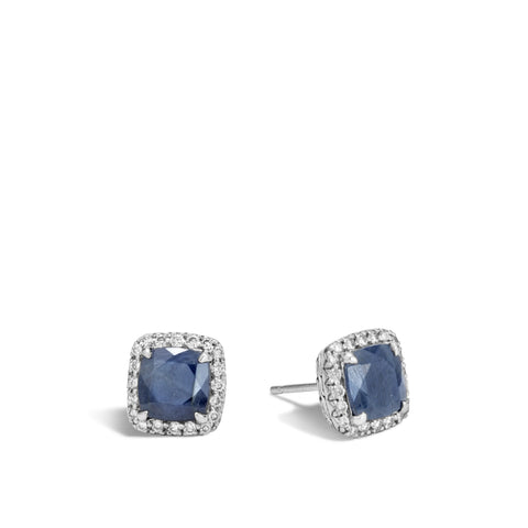 Magic Cut Stud Earring with Blue Sapphire and Diamonds