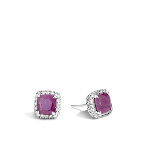 Magic Cut Stud Earring with Indian Ruby and Diamonds