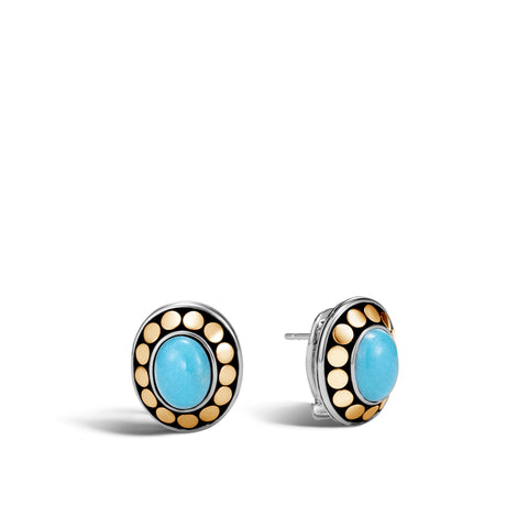Button Earring with Turquoise
