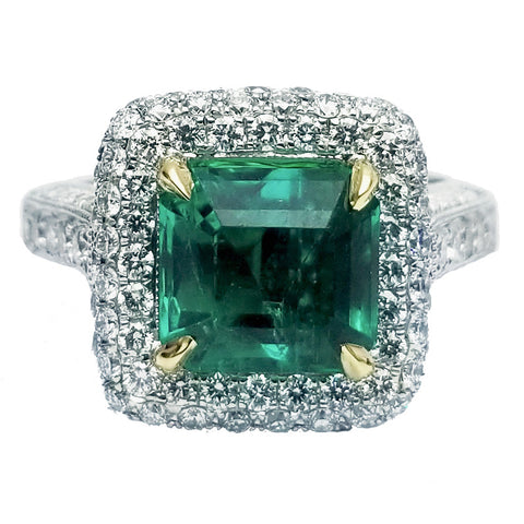 Emerald & Pave Diamond Ring