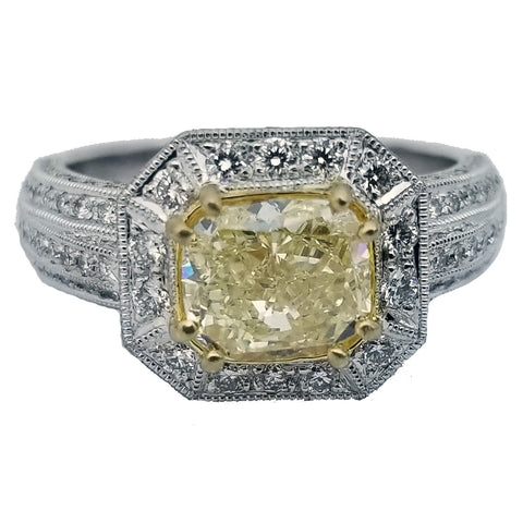 2.09 ct Radiant Cut Natural Yellow Diamond Ring