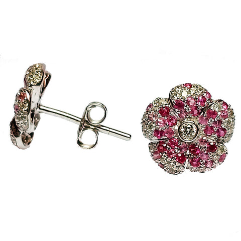 Pink Sapphire Flower Stud Earrings
