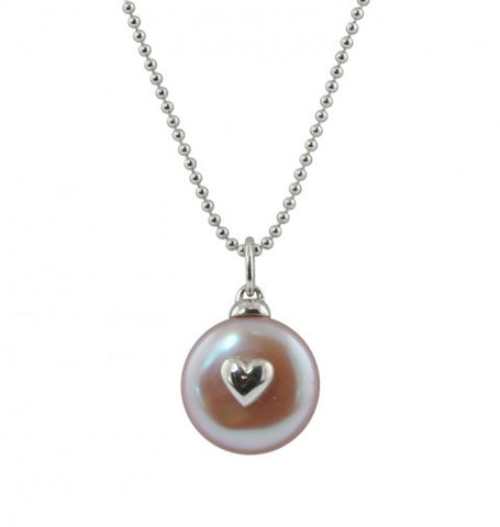Child's Coin Pearl with Heart Necklace