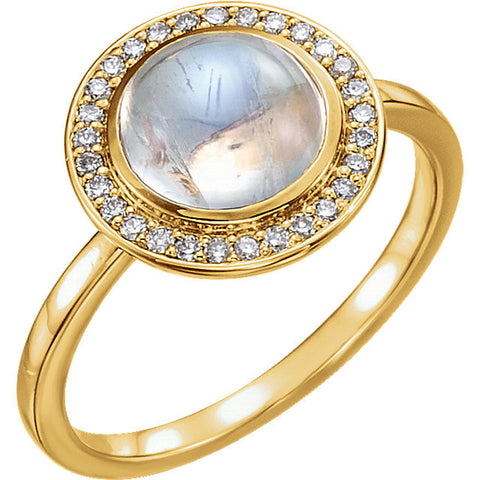 Rainbow Moonstone & Diamond Halo Ring