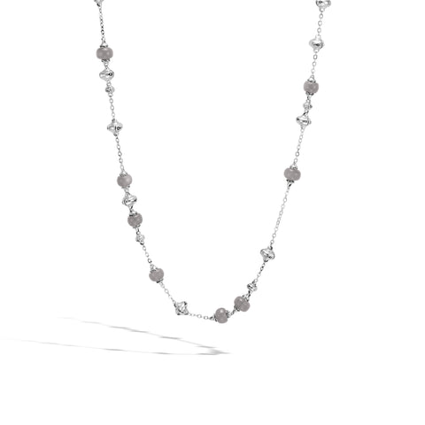 Bamboo Station Necklace with Grey Moonstone