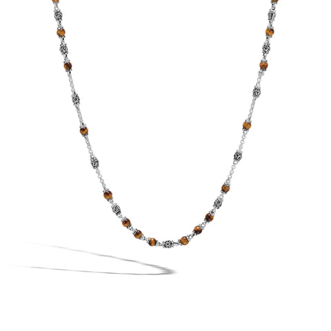 Men's Bead Necklace with Tiger Eye Necklace