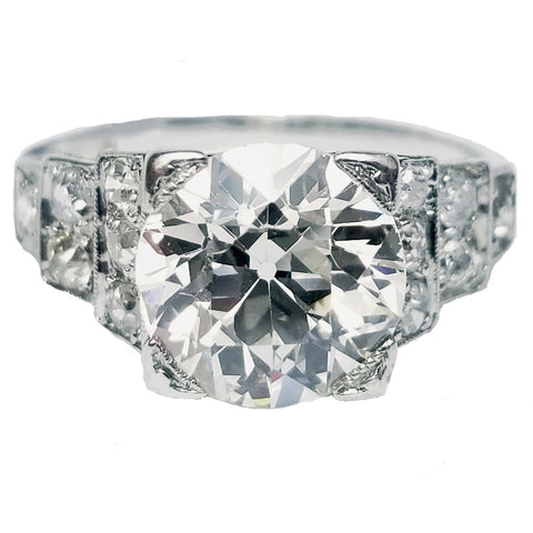 2.80cts Old Mine Cut Diamond Ring