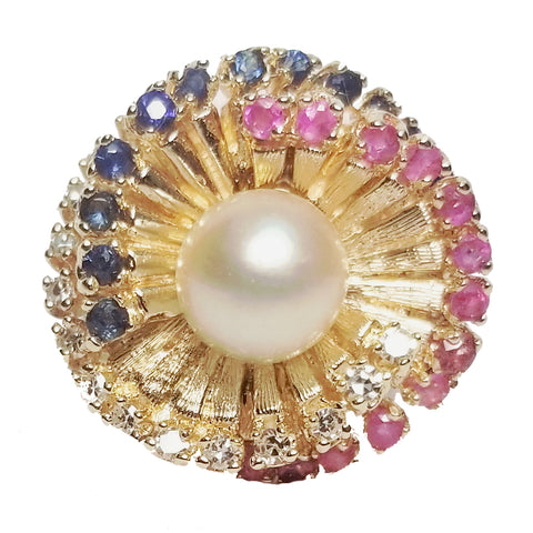 Pearl, Ruby & Sapphire Ring