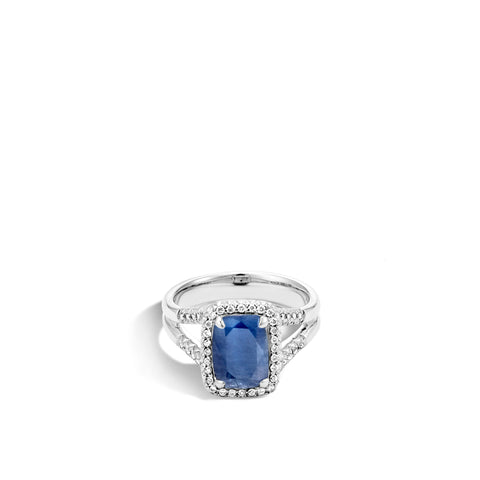 Magic Cut Ring with Blue Sapphire and Diamonds