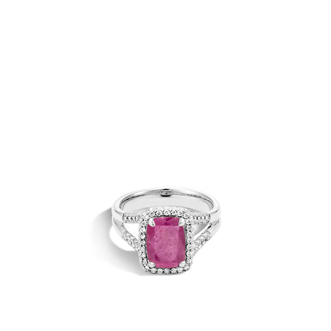 Magic Cut Ring with Indian Ruby and Diamonds