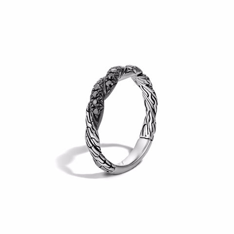 Classic Chain Flat Twisted Sapphire Chain Band Ring