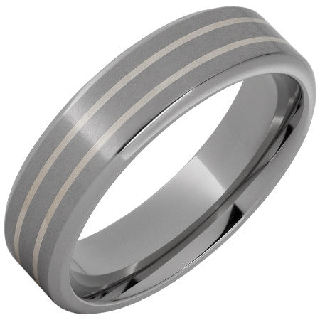 Men's 7mm Silver Inlay & Titanium Band
