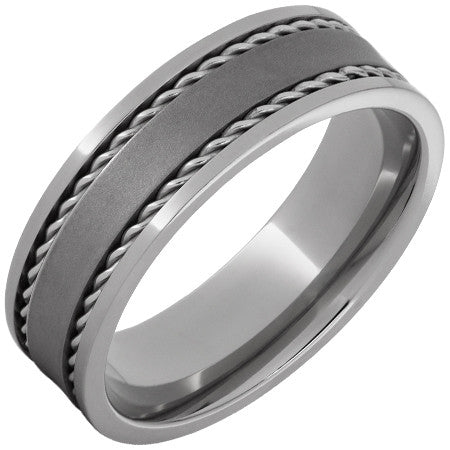 Men's 7mm Steel Rope Inlay Band