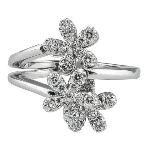 Movable Diamond Flower Ring