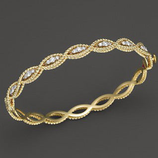 Barocco Diamond Bangle - Yellow Gold