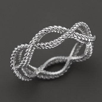 Barocco Braid Ring - White Gold