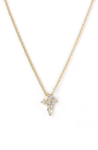 Tiny Diamond Cross Necklace
