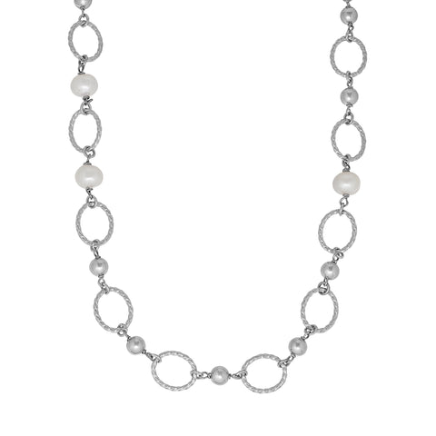 Tin Cup Cultured Pearl Necklace