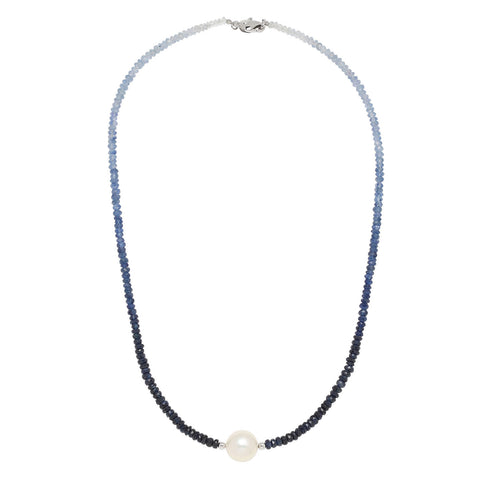 Ming Pearl & Sapphire Bead Necklace