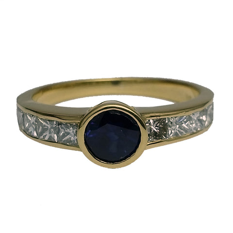 Sapphire & Diamond Channel Ring