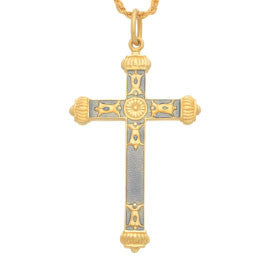 Enamel & Gold Thin Cross Pendant