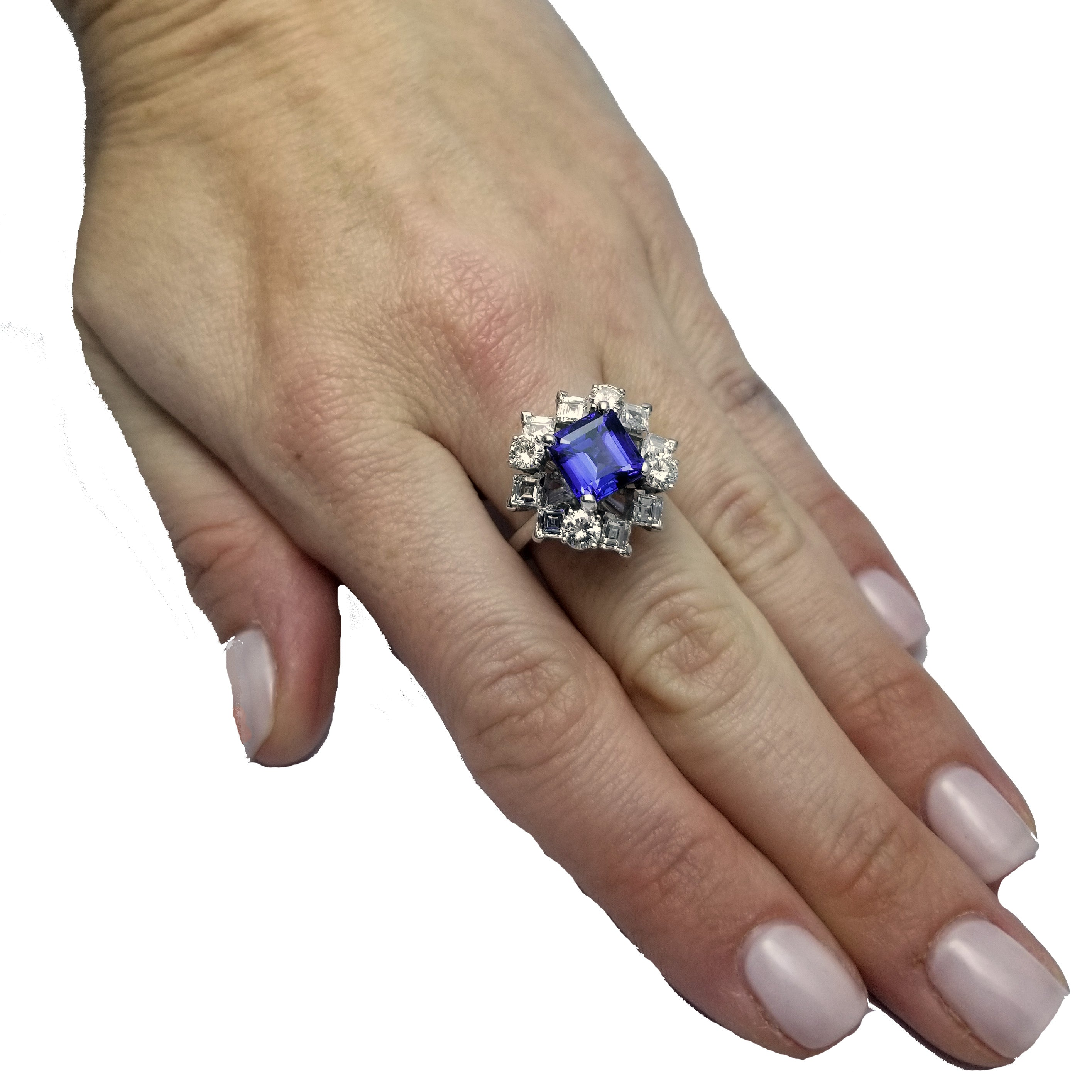 Estate 18 Karat White Gold Square Cut Tanzanite & Diamond Ring