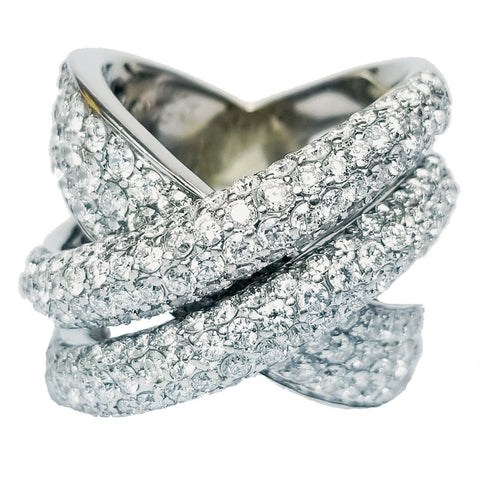 Cross-Over Pave Diamond Ring