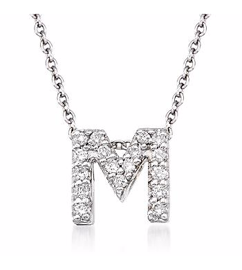 Tiny Initial ''M'' Necklace