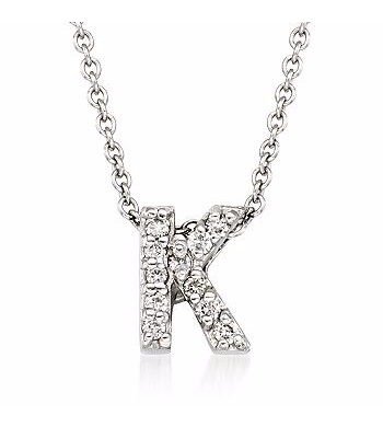 Tiny Initial ''K'' Necklace