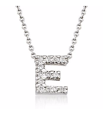 Tiny Initial ''E'' Necklace