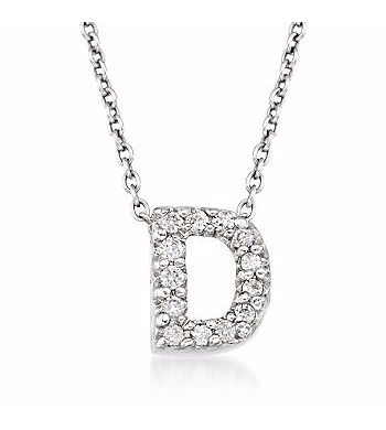 Tiny Initial ''D'' Necklace