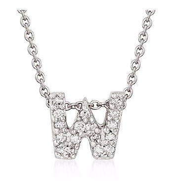Tiny Initial ''W'' Necklace